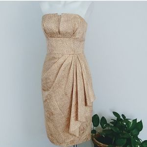 Maggy London strapless ruched gold dress